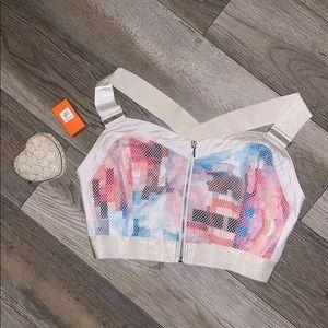 Bebe Crop Top Size Medium Color front W/ Zipper